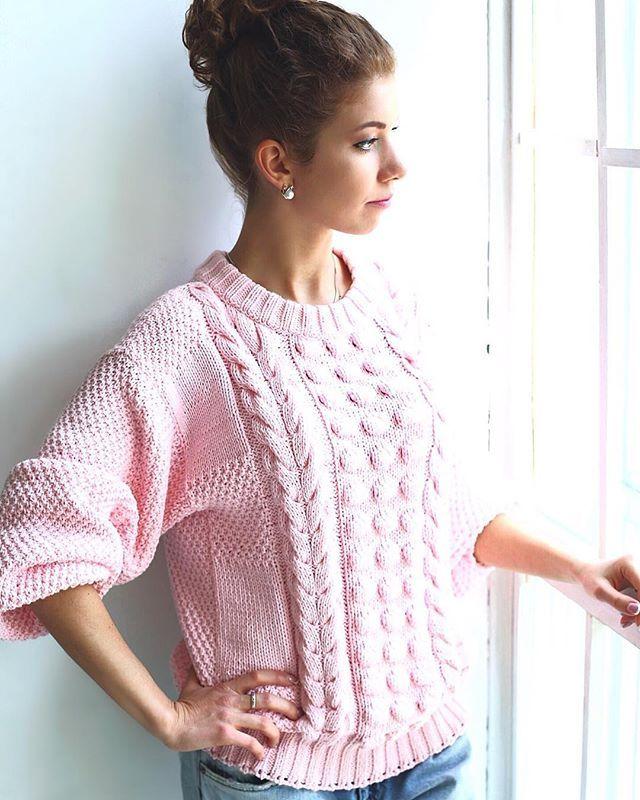 Хлопковый свитер оверсайз с объемными рукавами и фактурным рисунком в нежно-розовом цвете! Остался один единственный☝️ 13'500₽ #oversize#вязаныйсвитер#свитер#вязаныйджемпер#хлопковыйсвитер#corton#sweater#knittedsweater#modernknitting#fashionknitting
