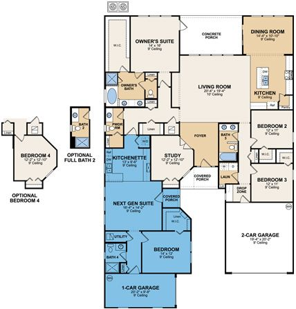 Approx. 3,159 Sq. Ft.  												Download and Print  												Main Home:  												  													3 Bedrooms  													2.5 Baths  													Family Room  													Lanai  													Dining Room  													Den  													2 Car Garage  												  												Next Gen Suite:  												  													1 Bedroom  													Private Living andKitchenette  													1 Bath  													1 Car Garage