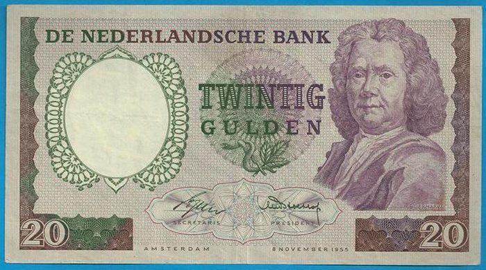 """Nederlands - Bankbiljet 20 Gulden 1955 """"Boerhaave"""""""