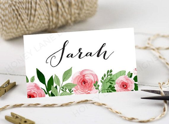 Personalised Printable, Wedding Place Cards,Name Cards - Watercolour Floral Collection