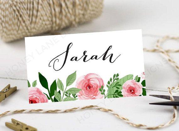 Personalised Printable Wedding Place CardsName by HoneyLaneDesigns