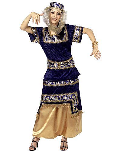Luxieus dameskostuum 1001 nacht  Arabisch dames kostuum. Blauwe Arabische jurk voor dames met gouden details. Het kostuum wordt geleverd met het haremhoedje inclusief aangehechte sluier.  EUR 40.29  Meer informatie