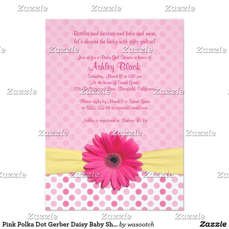 Pink Polka Dot Gerber Daisy Baby Shower Invitation Pink gerbera daisy, pink and white polka dot, yellow ribbon baby girl baby shower invitation. You can easily personalize the text using the personalize options. For more extensive changes, including changes to the font, font color, font size, and/or text placement, use customize it. This is a cute and unique baby shower invitation for a baby shower with a flower theme or a polka dots theme.
