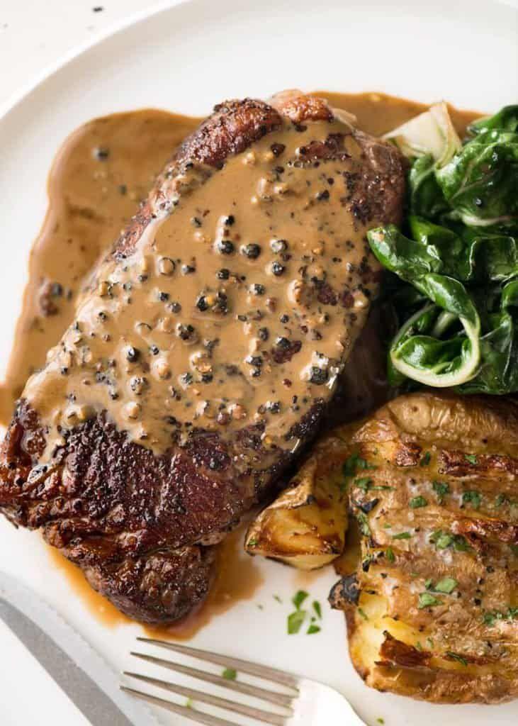 Steak With Creamy Peppercorn Sauce Recipe Food Peppercorn Sauce Creamy Peppercorn Sauce Steak Sauce Recipes