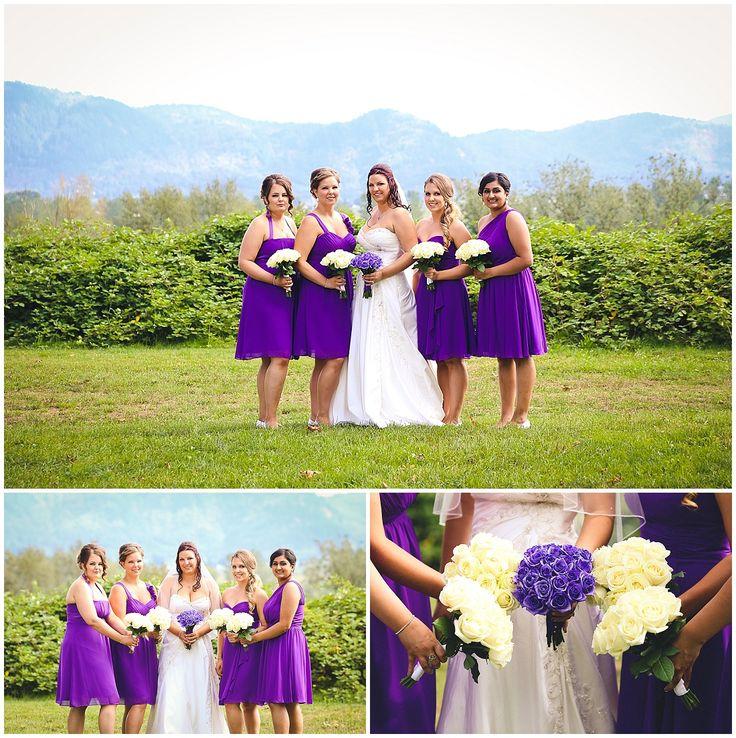 Purple Birdsmaid - Mission Wedding Photographer - Heritage Park #purple #mountains #white