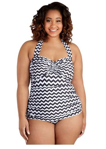 fuckyeahchubbyfashion: Esther Williams chevron bathing suit from ModCloth in sizes 16-26, on sale for $62.99. Free shipping, too, since it's over $50.