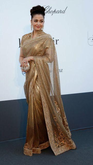 Aishwarya Rai Bachchan in Gold Saree