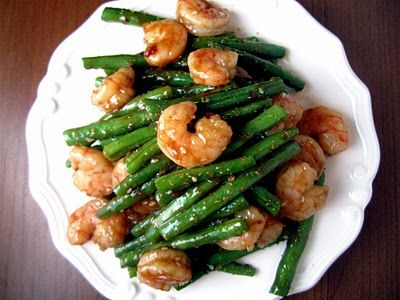 Spicy Garlic Shrimp and Green Beans (sub tofu for shrimp for vegetarian option)