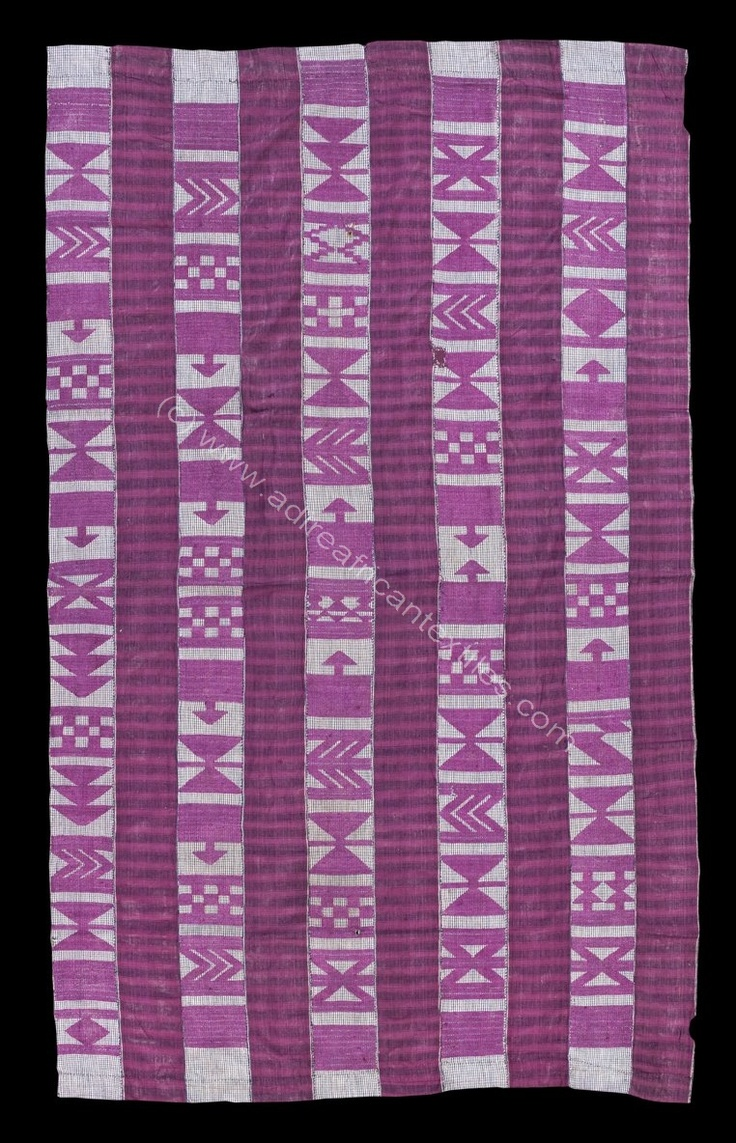 Adire African Textiles - C19th strip woven aso oke shawl, iborun. Very rare nineteenth century Yoruba cloth that alternates paired strips of magenta silk supplementary weft float motifs on a check blue and white cotton ground, with strips combining blue and white weft stripes with a warp of magenta trans-Saharan silk alaari .