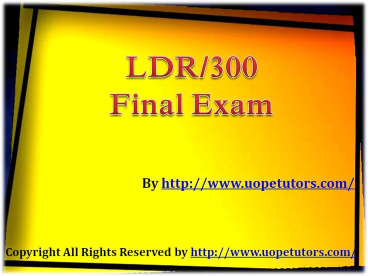 Get instant help for LDR 300 Final Exam 30 Question With Answers (University of Phoenix). We specialize in providing you 100% the correct answers for the course.