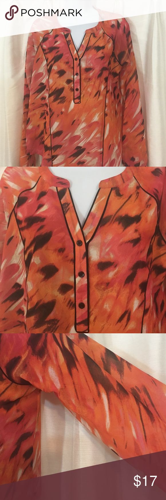 Calvin Klein Animal Print Blouse Sz S Calvin Klein Animal Print Blouse. Sleeves are sheer and body has an underlay. Sz S, Never worn Calvin Klein Tops Blouses