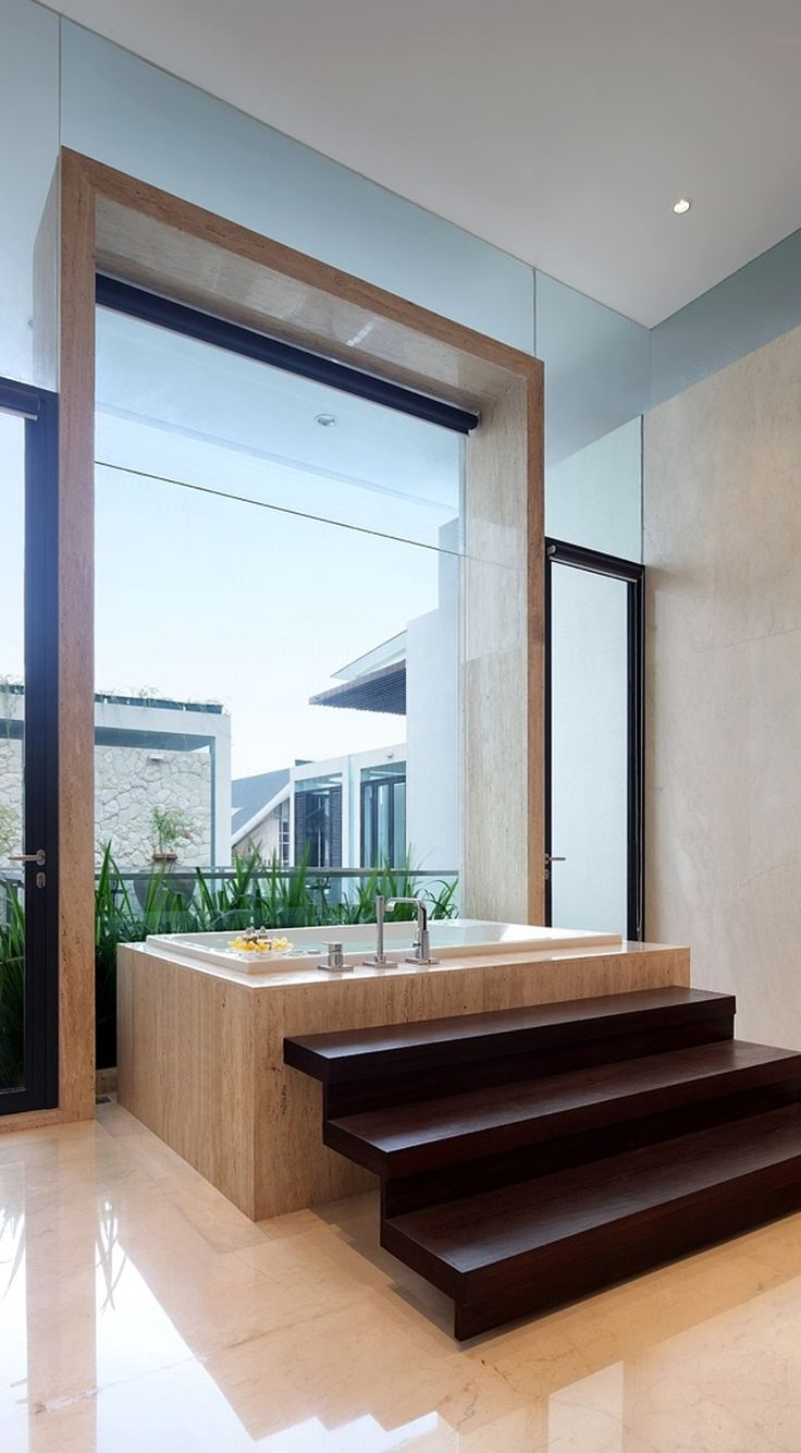 Open Space Bathroom - House in jakarta by tws with minimalist bathroom and nice view with big glass wall