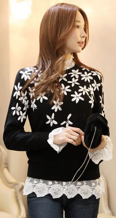 StyleOnme_Daisy Embroidered Cubic Detail Knit Sweater #blackandwhite #daisy #cute #girly #feminine #koreanfashion #sweater #dailylook #seoul #kstyle #kfashion