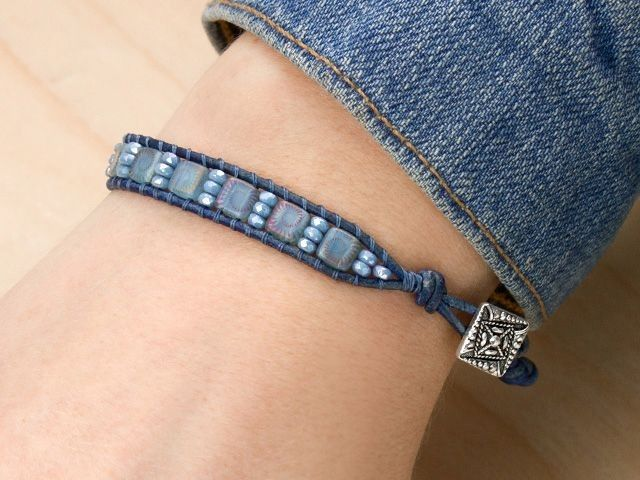 Denim Delight Bracelet with a TierraCast Czech Square Button - from Cheri Carlson at Artbeads