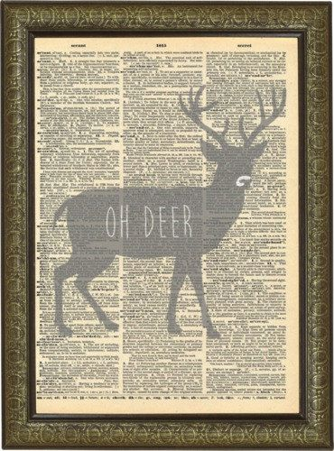 Oh deer print art. Deer puns decor. Funny Animal Puns. Vintage print.