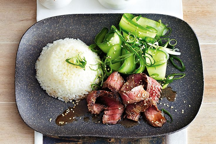 Teriyaki beef, sticky rice and cucumber http://www.taste.com.au/recipes/31837/teriyaki+beef+sticky+rice+and+cucumber