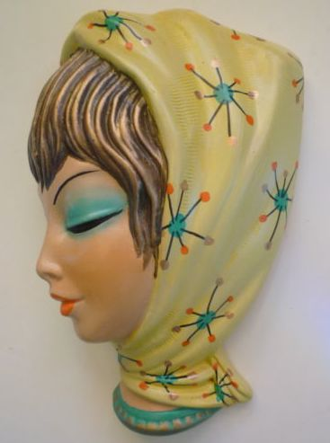 Wall Plaque.....Lady with Kitschy Atomic Scarf
