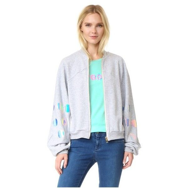 Natasha Zinko Zip Sweatshirt (1.385 BRL) ❤ liked on Polyvore featuring tops, hoodies, sweatshirts, grey, zipper top, zip top, slouchy sweatshirt, gray top and polka dot top