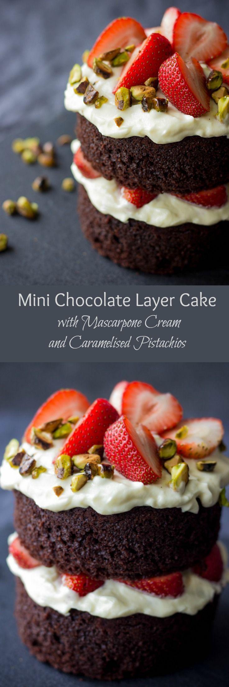Mini Chocolate Cake with Mascarpone Cream and Caramelised Pistachios : lavenderandmacarons