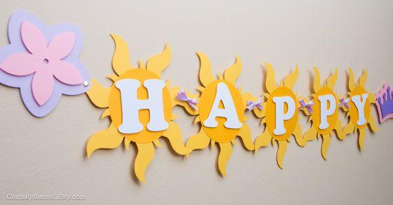 Banner cumpleaños enredados fiesta Rapunzel por CraftsByBiessel