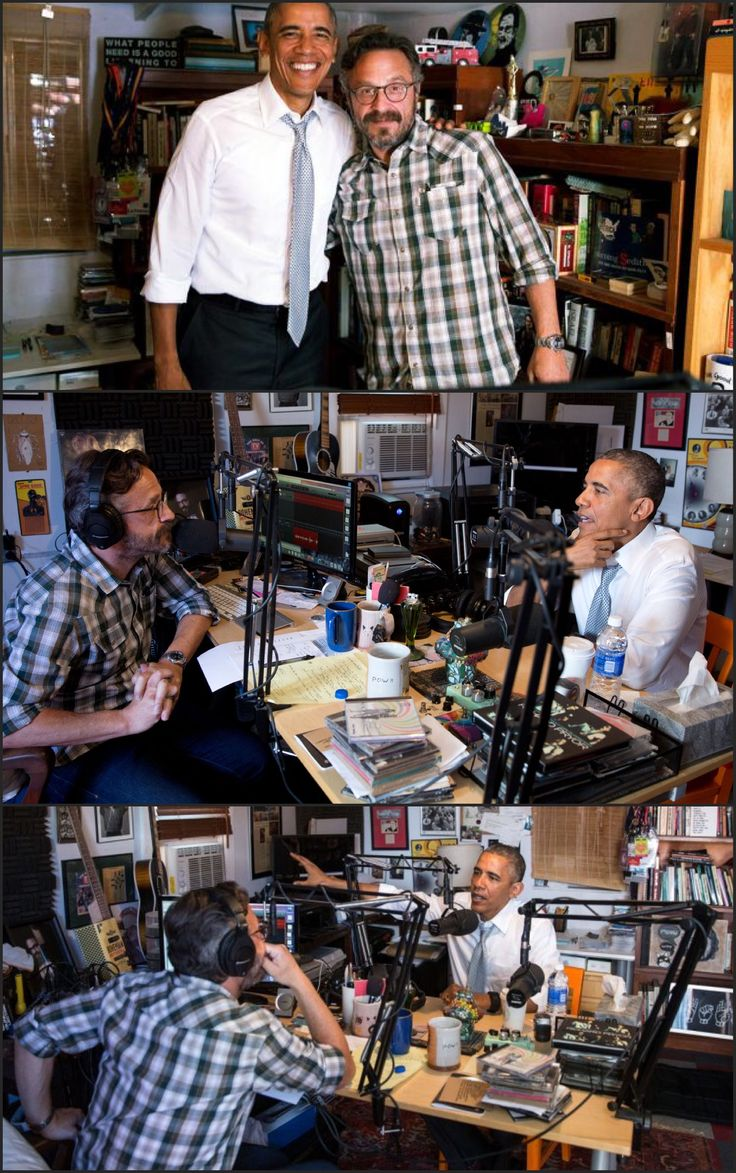 #44thPresident #BarackObama was in a podcast #interview from a comedian's garage talks about #Charleston #race #relations and #parenting #44thPresident #BarackObama, with Marc Maron in his garage recording studio after recording an episode of WTF with Marc Maron is a weekly podcast and radio show hosted by stand up comedian Marc The show launched in September 2009.