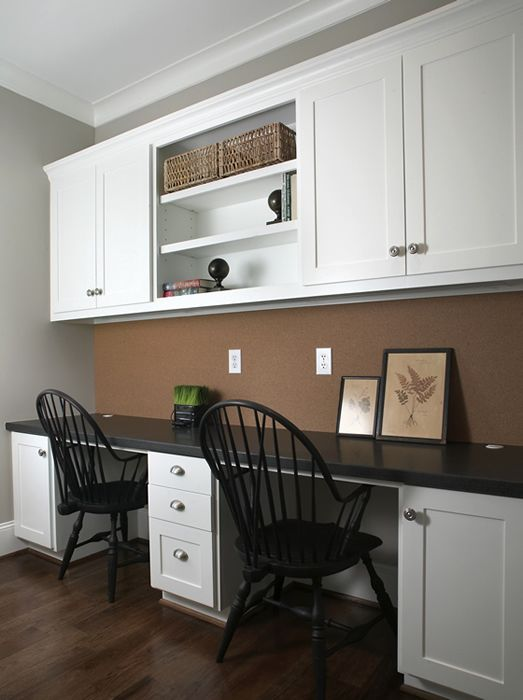"Great idea for the one wall--doing plug molding instead of outlets and like the cork board ""backsplash"" idea."