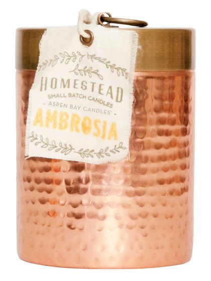 Homestead Ambrosia Hammered Canister Candle (14 OZ) by Aspen Bay Candles at Gilt