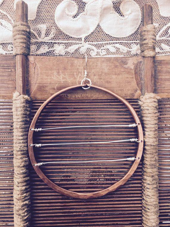 Full moon: sterling & copper hoops