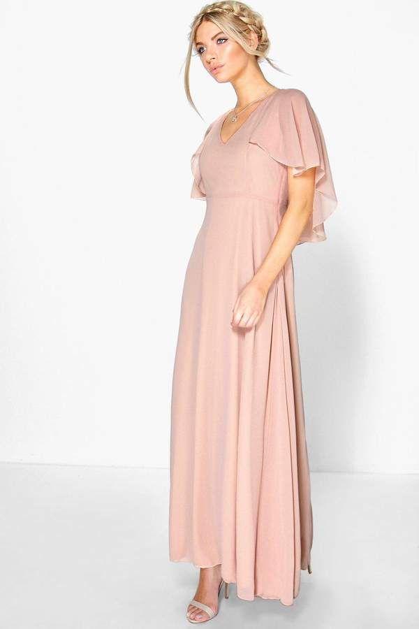 Boohoo Hollie Chiffon Cape Detail Maxi Dress In Pink Blush For Summer Fresh And Elegant Maxi Bridesmaid Dresses Maxi Dress Collection Bridesmaid Dresses