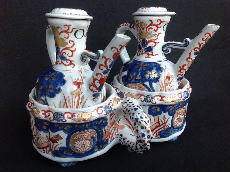 """Polychrome Dutch Delft Oil and Vinegar Set, made by Pieter Kocx at factory """"De Grieksche A"""", between 1701-1720. Marked APK. Collection Jeroen P. Hartgers, Belgium"""
