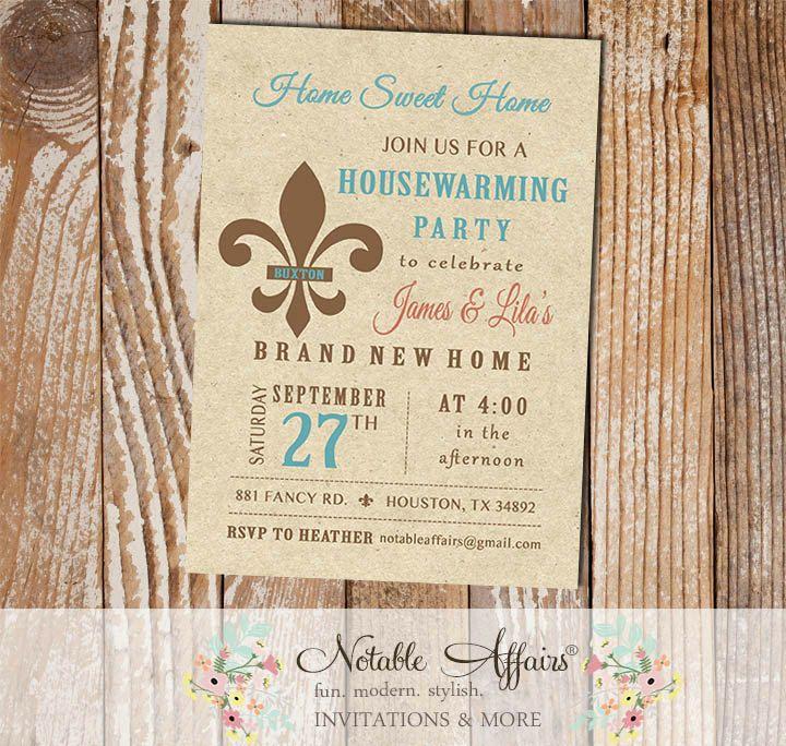 party invitations after wedding%0A Vintage Rustic Fleur De Lis Housewarming Party invitation
