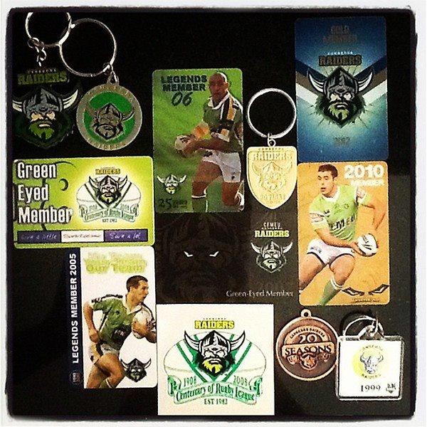 Canberra Raiders membership memorabilia.