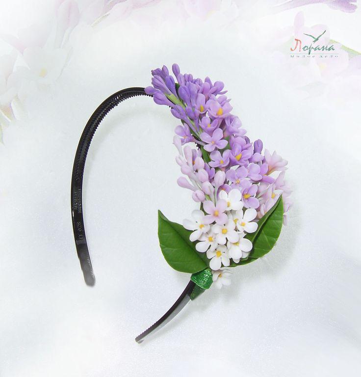 """Ободок """"Сирень"""" - полимерная глина,ободок для волос,ободок с цветами,украшение для волос"""