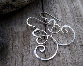 Sterling Sea Mist Earrings - Charm Holder Earrings - Free Form Sterling Wire Work