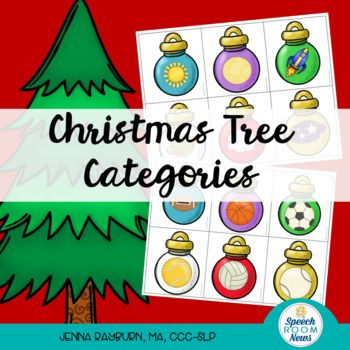 Help Wanted! Elves are needed to decorate Santa's Christmas trees this year in speech therapy. Encourage your elves to sort six ornaments onto each of the twelve trees. Included categories: Space, farm animals, buildings, community helpers, beach, food, sea animals, shoes, dinosaurs, technology, sports balls, school supplies.