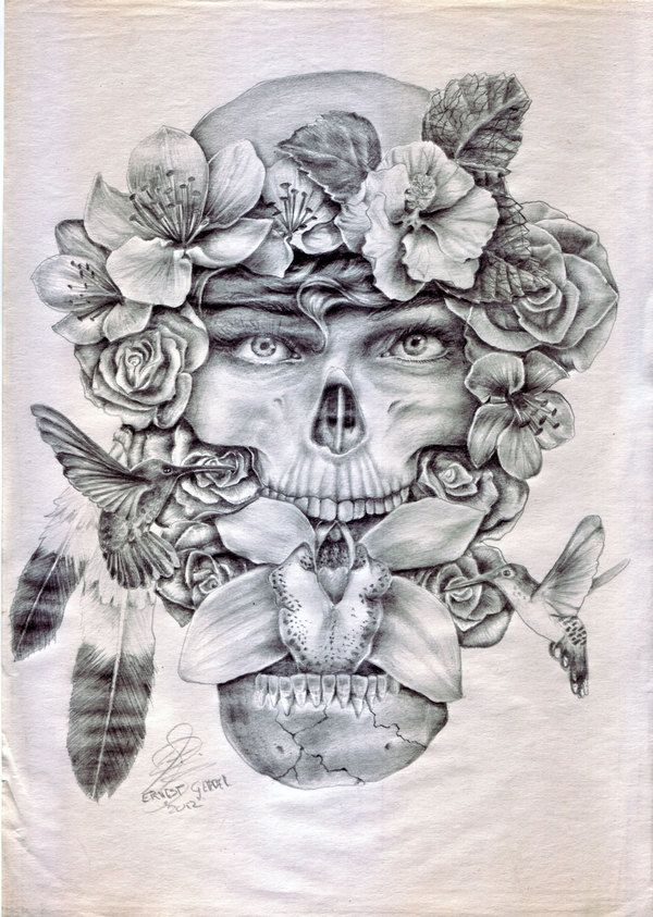 Fona and Flora Skull and roses drawing by Ernest Gerber, GraphanixDziner