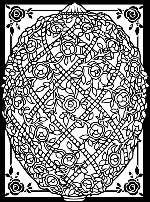 Rose trellis Easter egg printable coloring page