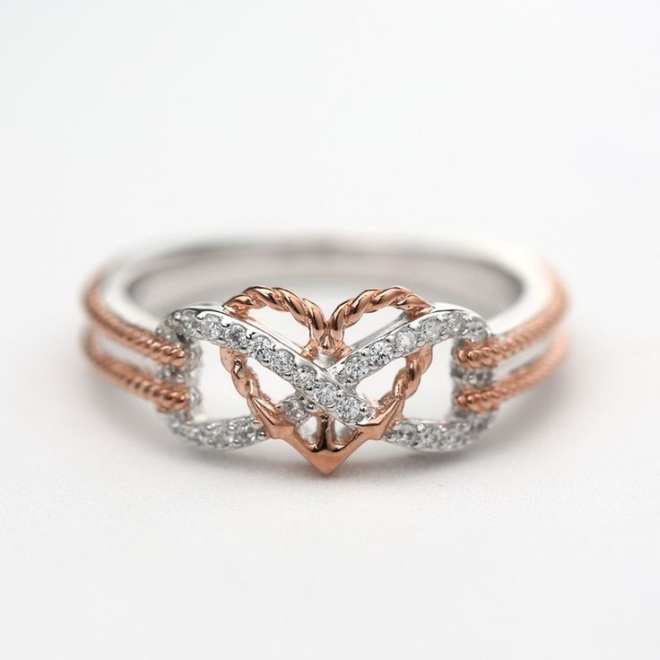 Infinite Love Motif Two-tone Anchor Heart Promise Ring For Valentine's Day Gift