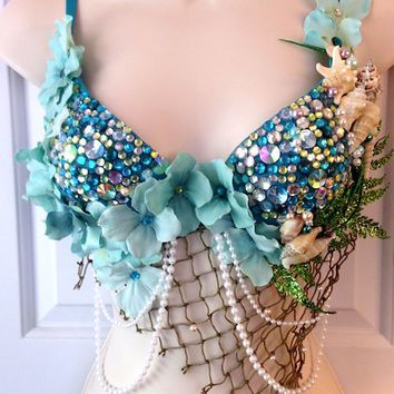 shimmery, aquatic   Blue Green Mermaid Rave Bra - 34B or Custom Order