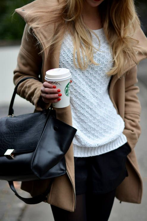 tights+ black short + white sweater + brown coat