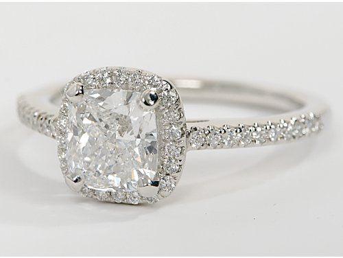 Cushion Cut Halo Diamond Engagement Ring in 14k white gold | Blue Nile