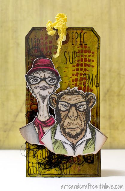 Two cool dudes, stamped mixed media tag