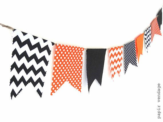 Halloween Bunting Banner, Orange & Black Chevron and Polka Dots Bunting, Fall Decorations, Halloween Decorations, Halloween Photo Prop