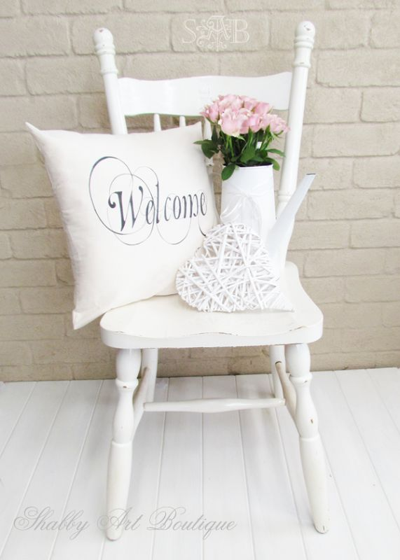shabby art boutique diy welcome cushion easter and. Black Bedroom Furniture Sets. Home Design Ideas