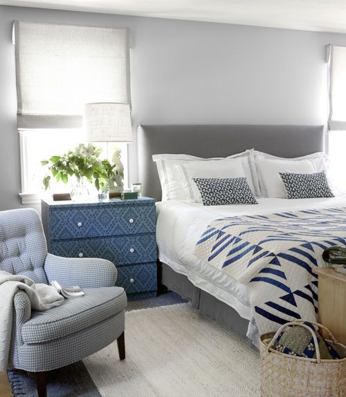 Great idea: Cover an #Ikea dresser in wallpaper, like this one that's dressed up in a print by Anya Larkin.Grey Bedrooms, Decor Ideas, Colors, Blue Bedrooms, Master Bedrooms, Bedside Tables, House, Bedrooms Ideas, Gray Bedrooms
