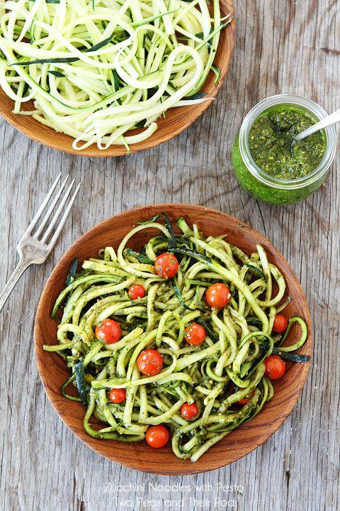 Zucchini Noodles with Pesto on twopeasandtheirpod.com