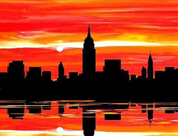 New York city art prints, NYC orange, black sunset skyline canvas painting Print by francine bradette-FREE S $40.00, via Etsy.