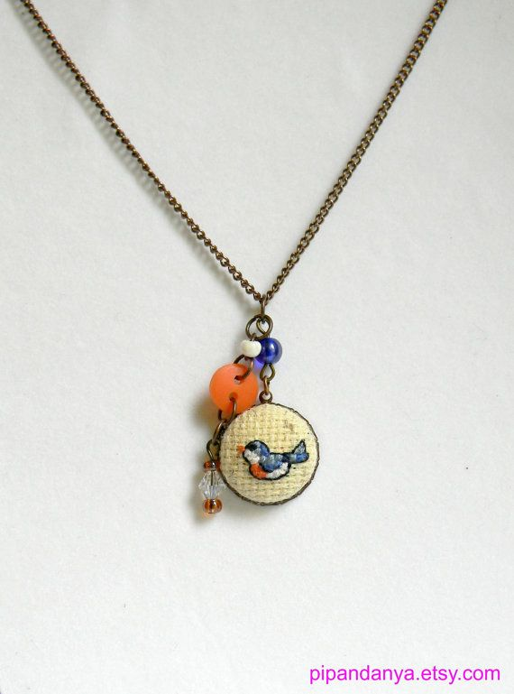 Bird Embroidered Charm Necklace Handmade Cross by PipandAnya, $17.00