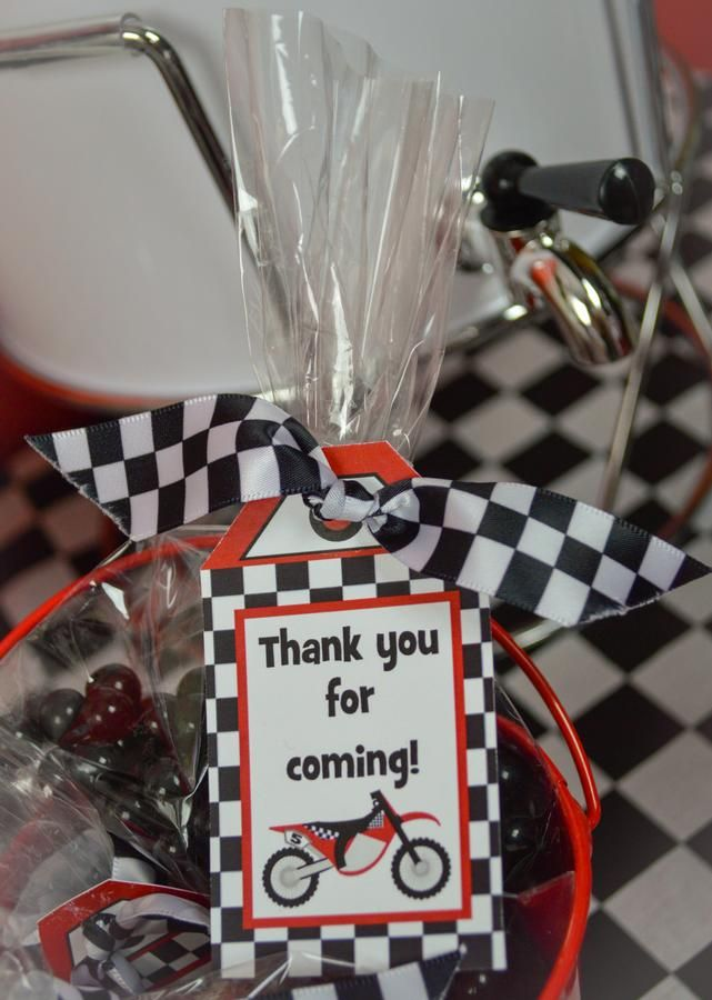 Checkered ribbon for Favor Tags