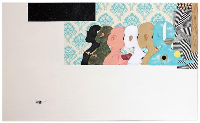 Bruno Kurru   Caminho de Volta nas Camadas do Eu (da série Condensação de Estados Sensíveis)  2010  acrílica e betume sobre tela  90 x 150 cm